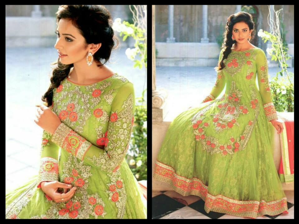 green color anarkali
