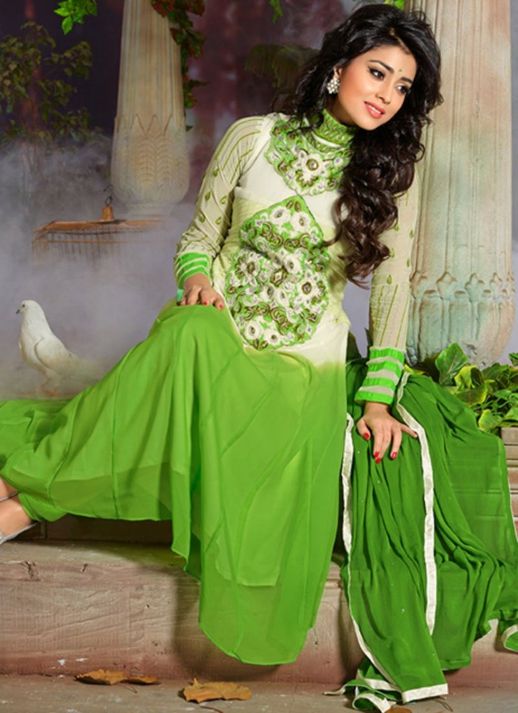 green-shriya-saran-anarkali-suit-