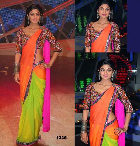 multicolored blouse sari