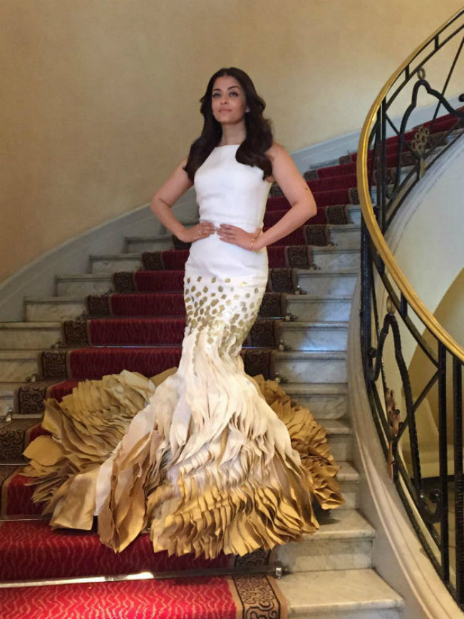 white and gold Georges Chakra mermaid gown