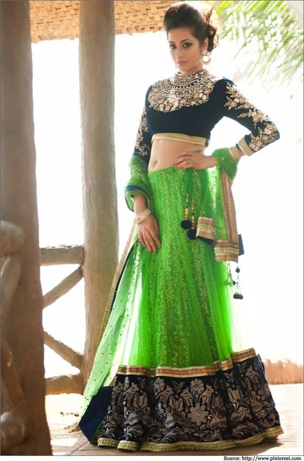 Green-Lehenga with maharani blouse