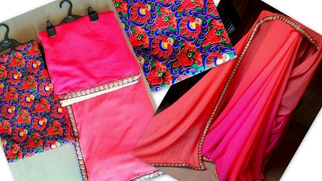 Plain Saree with Brocade or Printed or Kutch Work Blouse